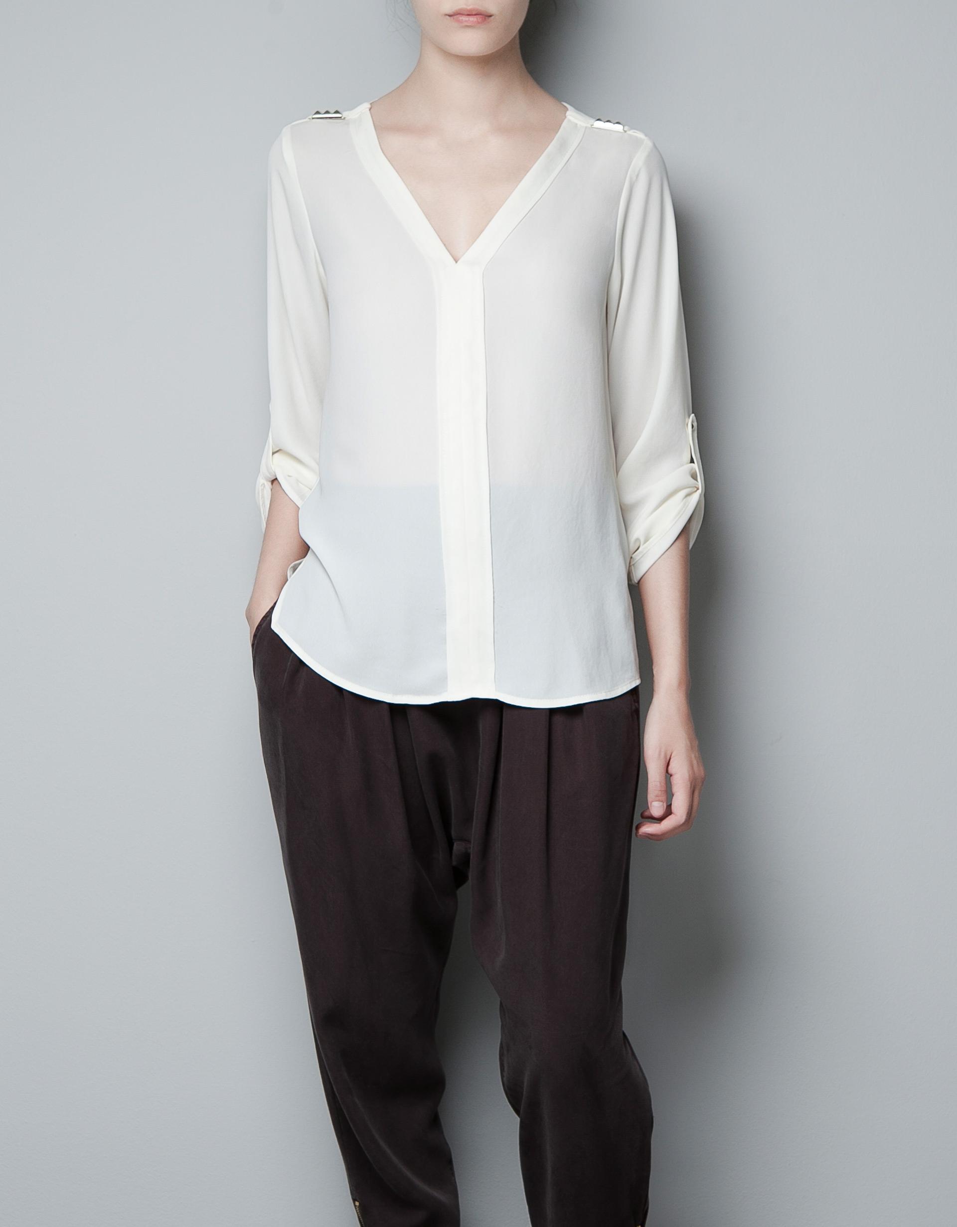 Zara White Blouse 42